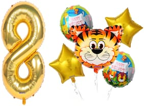 Shanaya Happy Birthday Balloons Decoration Items Kit Wild Animal Tiger Theme Foil Balloons Set With Number 7 Gold Foil Balloon For Girls Boys