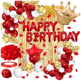 SHANAYA Happy Birthday Decorations For Girls Boys Husband Wife Combo Items Kit -60Pcs Set Happy Birthday Foil Balloons, White Red Metallic Red Star & Crown Foil Balloons Golden Curtain Party Supplies