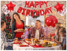 SHANAYA Happy Birthday Decorations For Girls Boys Husband Wife Combo Items Kit -40Pcs Set Happy Birthday Foil Balloons, Red Star Foil Metallic Red Baloons Confetti Balloons Glue Dot Party Supplies