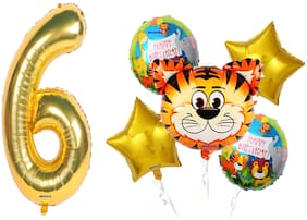 Shanaya Happy Birthday Balloons Decoration Items Kit Wild Animal Tiger Theme Foil Balloons Set With Number 6 Gold Foil Balloon For Girls Boys