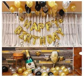 SHANAYA Happy Birthday Decorations Items For Girls Boys Husband Wife Combo Set Kit -44Pcs Set Happy Birthday Gold Foil Balloons Metallic Gold Silver Black Baloons Party Supplies
