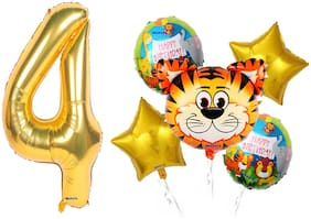Shanaya Happy Birthday Balloons Decoration Items Kit Wild Animal Tiger Theme Foil Balloons Set With Number 4 Gold Foil Balloon For Girls Boys