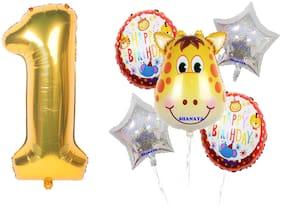 Shanaya Happy Birthday Balloons Decoration Items Kit Wild Animal Giraffe Theme Foil Balloons Set With Number 1 Gold Foil Balloon For Girls Boys