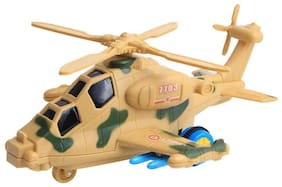 Shanaya Military Fighter Helicopter Friction Toy with Music & Lights- Cream  (Cream)