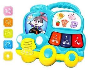 Shanaya Mini Musical Bus Shaped Piano Electronic Keyboard Music Development Educational Toy for Kids (Assorted Colors)