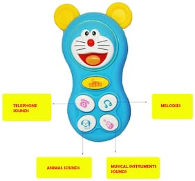 Shanaya Musical Mobile Phone Toys for Kids;Girls;Babies;Boys with Music;Light;Melodies;Animal Sounds - ASSORTED COLORS