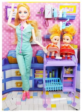 Shanaya Toys Babies Doctor Fashion Doll with Foldable Hands & Legs, Light & Music, Doctor Accessories & Baby Stand Doll Set for Girls