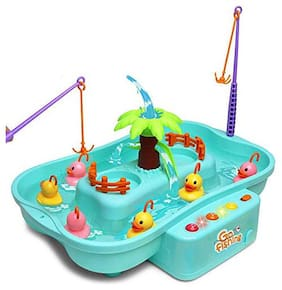 Shanaya  Toys Water Fishing Toy with Music and Light Floating Duck and Fishes Game for Children