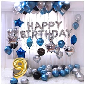 Shanaya52 Pieces Happy Birthday Balloons Decoration Kit Set Items Combo With Number 9 Foil Balloon