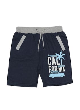 SharkTribe Boy Cotton Blended Printed Shorts - Blue