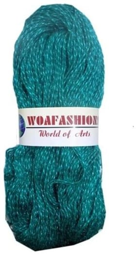 WOAFASHIONS SHINE Acrylic Nylon Hand Knitting Yarn (Teal Green) (Hanks-170g)