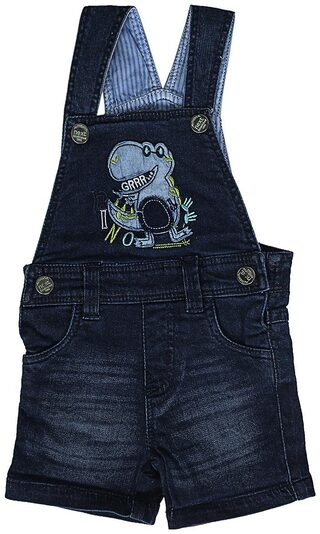 Shishu Baby Boy Denim Solid Jumpsuit - Blue