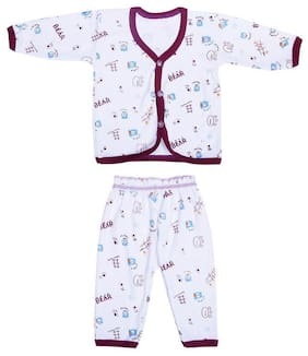 Shishu Unisex Top & bottom set - Purple & White