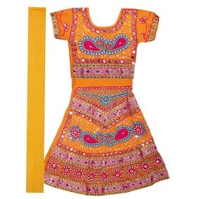 Shishu Rajasthani Lehnga Hand Embroidry (Orange)