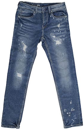 Shishu Washed And Ribbed Blue Denim Jeans