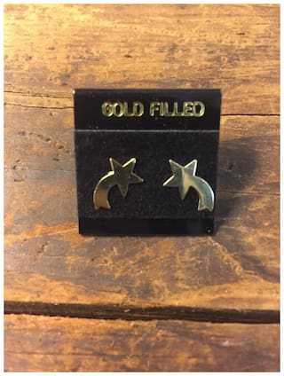 Shooting Star Earrings 14k Gold Filled Vintage Studs New Old Stock Childrens
