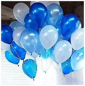Shop-Online Metallic Good Quality Balloons, Blue/White (Pack of 50)