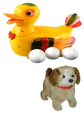Shop & Shoppee Jumping Puppy And Duck Lays Eggs Battery Operated Toy
