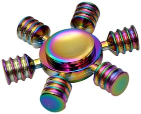 Shop & Shoppee Fidget Toy  Six Winged Stainless Steel Bearing  Brass Metal Fingertip Spinner for Killing Time  Relieving Anxiety  Stress  (Assorted)