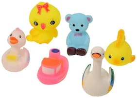 Shop & Shoppee 6 Piece Toddler Baby Bathtub Bathing Chu Chu Squeeze Bath Toys Non-Toxic BPA Free  Big Animal Shape (Color May Vary)