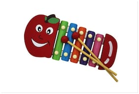 Shopaholic Cute Multicolored Wooden Xylophone For Kids Musical Toy With 5 Notes - Top Character May Vary (As per availability)