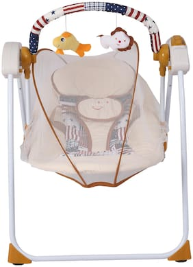 Shopizone Electric Swing Cradle for Babies Foldable Automatic Gentle Swing with Remote Control;Music Mosquito Net