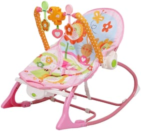 Shopizone Infant to Toddler Bozr Cum Rocker Chair with Vibration and Music For Babies Pink Rocker and Bozr (Pink)