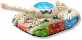 ShopMeFast Bump & Go Battle Tank With Flashing Lights And Sound Toy For Kids