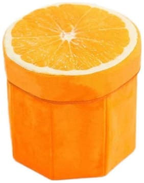 ShopMeFast Orange Fruit Design Foldable Multi Purpose Velvet Storage Stool Seat For Sitting and Storing Toys & Things