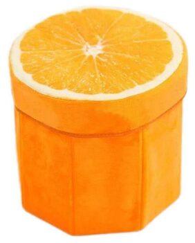 ShopMeFast Orange Fruit Design Foldable Multi Purpose Velvet Storage Stool Seat For Sitting and Storing Toys & Things