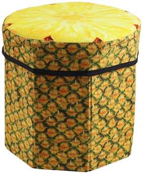 ShopMeFast PineApple Fruit Design Foldable Multi Purpose Velvet Storage Stool Seat For Sitting and Storing Toys & Things