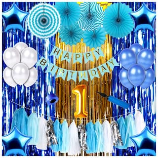 Shopperskart  presents First/1st happy birthday banner/balloons combo/kit pack for party decorations