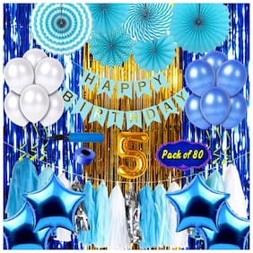 Shopperskart  presents Fifth/5th happy birthday banner/balloons combo/kit pack for party decorations