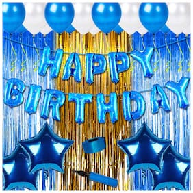 Shopperskart Happy birthday combo/kit pack for blue theme party decorations