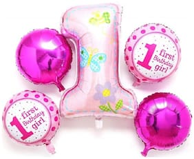 Shopperskart First Birthday Girl Air-Toy-Foil-Helium Balloons For Birthday/Welcome baby/Baby Shower