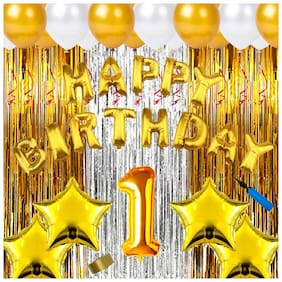Shopperskart  presents First/1st happy birthday combo/kit pack material for party decorations