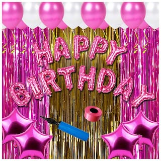 Shopperskart Happy birthday combo/kit pack for pink theme party decorations