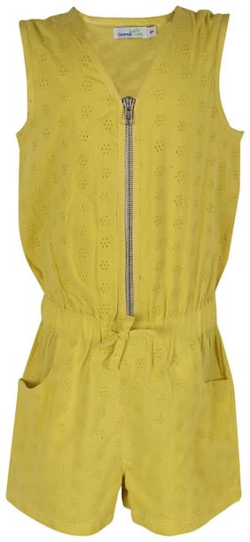 ShopperTree Cotton Solid Dungaree For Girl - Yellow
