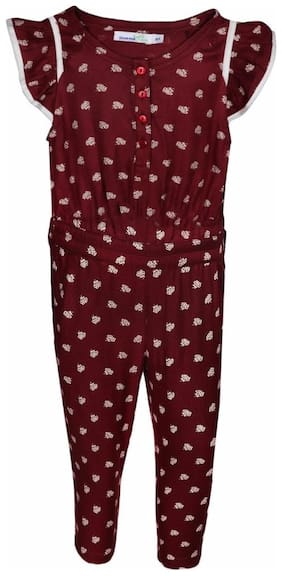 ShopperTree Rayon Solid Dungaree For Girl - Maroon