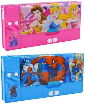 Shree Jee Multipurpose Dual Side Magnetic Pencil Box with Integrated Sharpener(Pack Of 2))