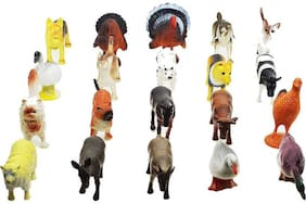 Shree Krishna Handicrafts And Gallery Farm Animals Plastic Toys for Kids (20 Pcs. Pack) (Multi-color)