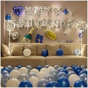 Shree & Shreeman Happy Anniversary Kit 66Pcs With Silver Anniversary Foil-16Pc, Metallic Balloons, Blue And Silver( 50Pc)