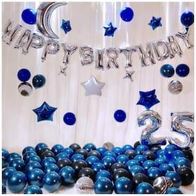 SHREE & SHREEMAN 43Pcs Happy Birthday Silver Birthday foil Balloon (13pc Letter Balloon) + Metallic Balloon Blue;Silver Assorted Mix 30pcs Combo Birthday kit