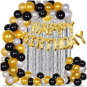 SHREE & SHREEMAN 43Pcs Golden;Silver and Black Balloon Birthday Decorations Items Combo for Kids;Adult Birthday