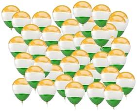SHREE & SHREEMAN Republic Day Celebration 100 Tricolor Balloons for School/Collage/Govt Offices/Shop/Mall Decoratoon.