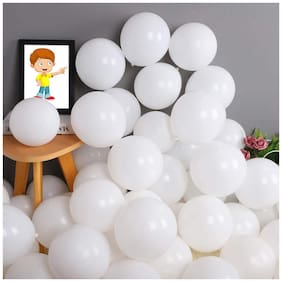 Shree & Shreeman Balloon Pack of 100 Pieces (White) for Birthday Party Decoration & Occasions