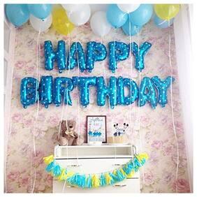 SHREE & SHREEMAN Happy Birthday Letter Foil Blue Balloon Set;13 Letters