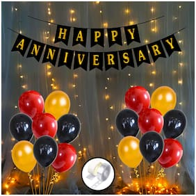 Shree & Shreeman Happy Anniversary Decorations For Home Kit With Happy Anniversary Banner 16Pc, Metallic Balloons Golden, Red And Black Combo 50Pcs