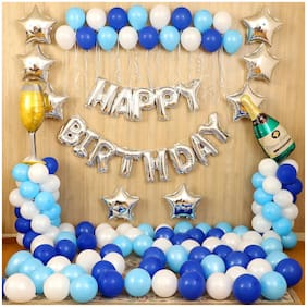 SHREE & SHREEMAN Happy Birthday Blue Decoration Kit with Silver Foil Happy Birthday Letters