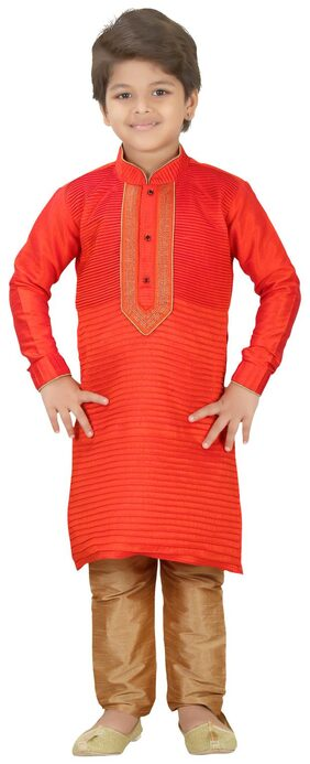 Shree Shubh Boy Cotton Blend Solid Kurta Pyjama Set - Orange